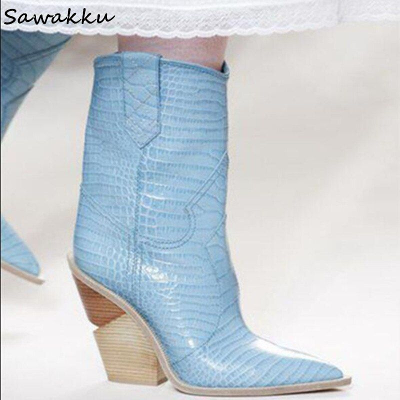 2018 Runway Pointed Toe Western Knee High Boots Women Mid-calf Chunky Wedges Cowboy Boots Light Blue Genuine Leather Shoes Woman