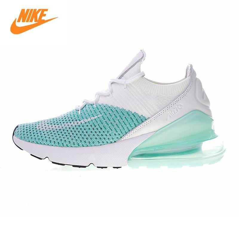 NIKE AIR MAX 270 FLYKNIT Laufende Schuhe der Frauen, Weiß & Blau, nicht-slip Atmungsaktive Tragen-beständig Leichte AH6803 301