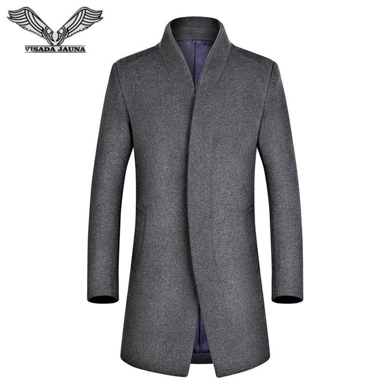 VISADA JAUNA 2017 Casual Men Wool Coat Business Homens do Revestimento de Trincheira Slim Fit Longa dos Homens Trench Coat N5822
