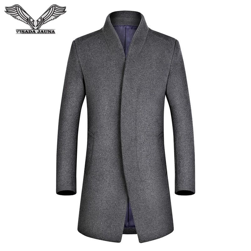 VISADA JAUNA 2017 Casual Men Wool Coat Business Homens do Revestimento de Trincheira Slim Fit Longa dos Homens Trench Coat N5822