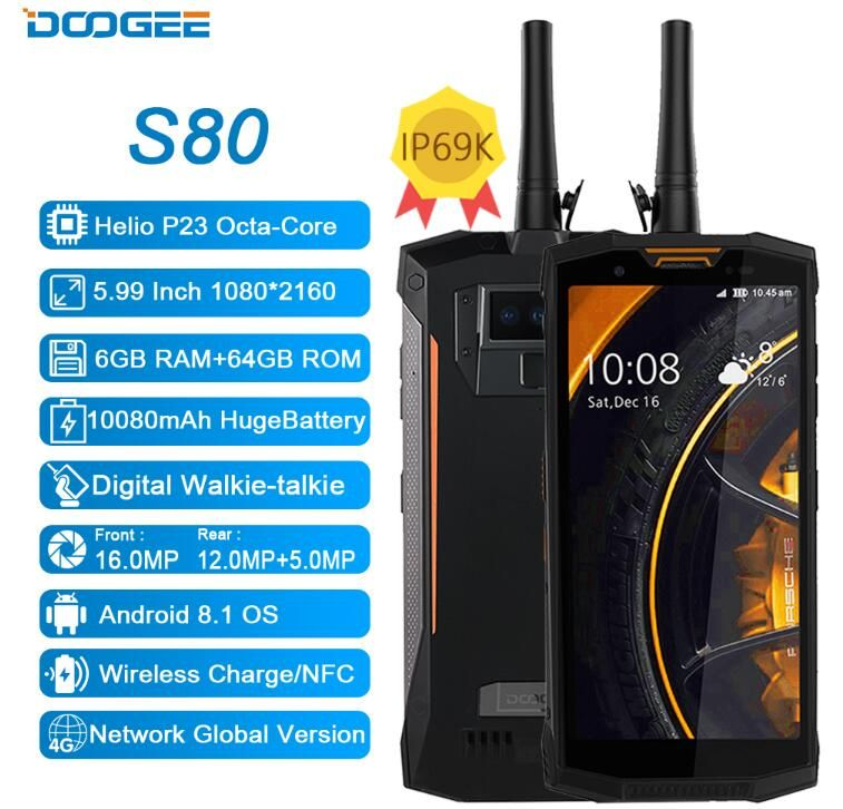 DOOGEE S80 5.99 Inch 18:9 10080mAh Fast Charge Helio P23 MT6763 Octa Core IP68 IP69K Waterproof 6GB+64GB NFC OTG 4G Mobile Phone