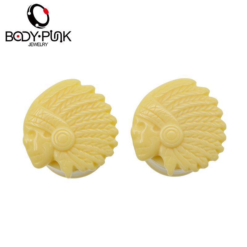 Körper punk2pcs acryl gelb 3d skeleton schädel ear plug piercing schmuck ohrstöpsel tunnel ohrbahre piercing 11mm-16mm