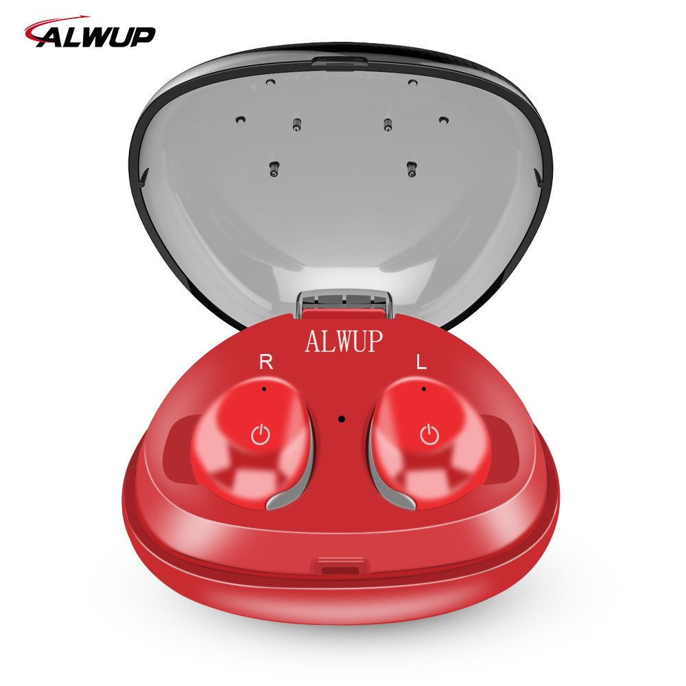 ALWUP TWS True Wireless Earbuds with Mic Mini Sport Wireless Bluetooth Earphone for iPhone Bluetooth 4.2 with Charging Case