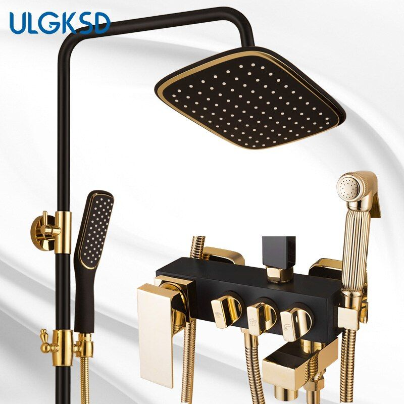 ULGKSD Newest Shower Faucet <font><b>Wall</b></font> Mounted Black Bathtub Faucet Rainfall Shower Head with Tub Faucet Mixer Water Tap