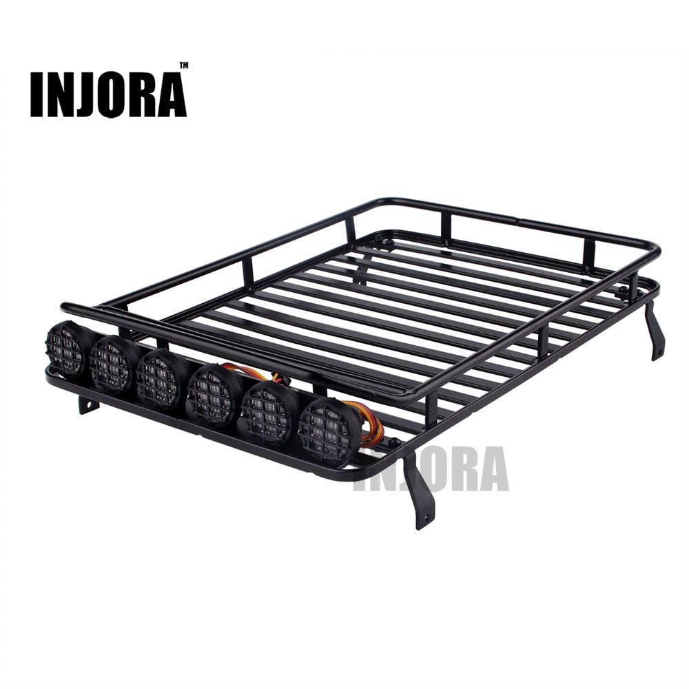 INJORA Roof Rack Luggage Carrier with Light Bar for 1/10 RC Crawler D90 Axial SCX10 90046