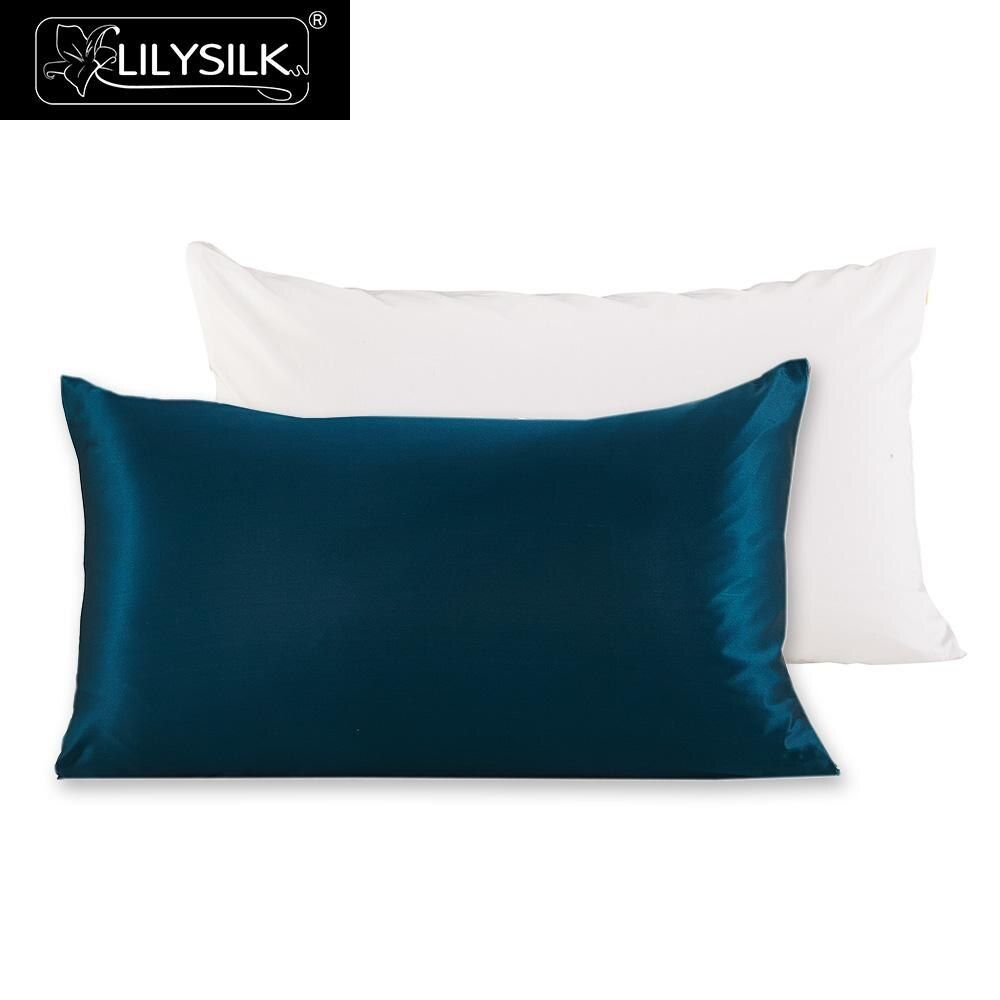 Lilysilk 100% Pure Mulberry Silk Pillowcase with Cotton Terse Pillow Cover for Hair with Hidden Zipper Hypoallergenic