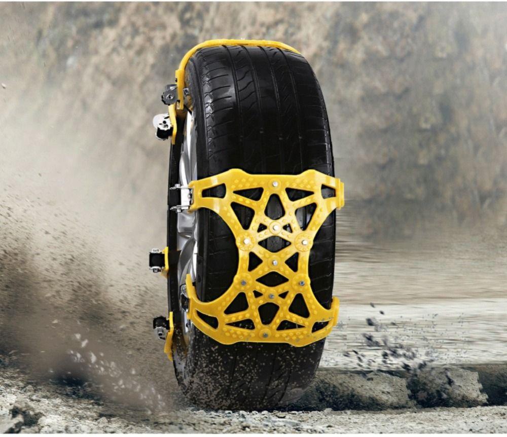 AUMOHALL 6PCS Car Tire Chains Anti-Slip Snow Chains Cable Traction Mud Chains All Season Tire Anti-Slip Chains