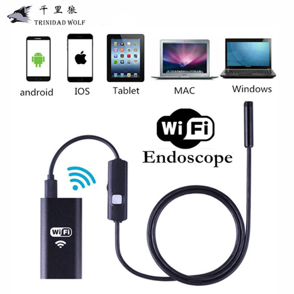 TRINIDAD WOLF IOS Wifi Endoscope 8mm Lens 6 LED Wireless Waterproof Android Endoscope <font><b>Inspection</b></font> Borescope Camera 1M 2M 5M Cable