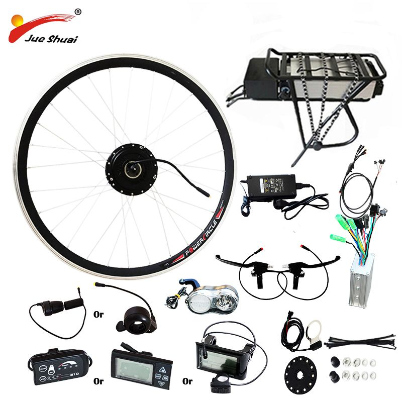 250W/350W/500W 36V-48V Rear Carrier Battery Electric Bicycle Kits Electric Bicycle Conversion Kit For 20