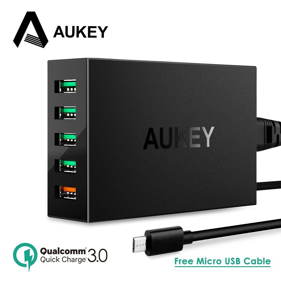 Quick Charge 3.0 USB Charger, AUKEY 55.5W 5 Ports Desktop Charger USB Mobile Phone Fast Charger for iPhone Samsung Xiaomi Nexus