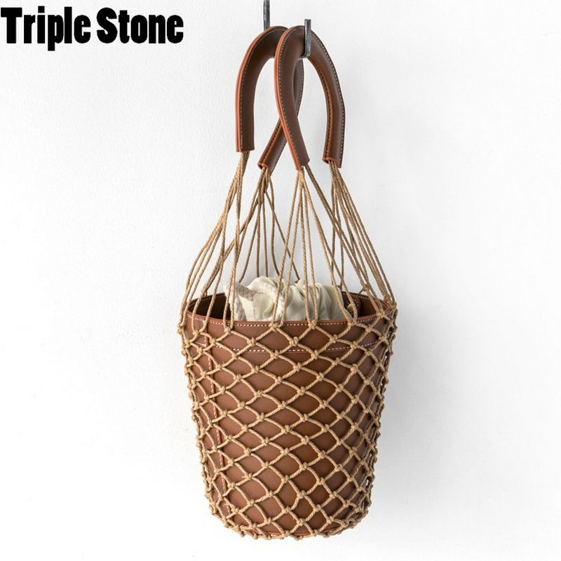 Korean Japanese Hollow Net Bucket Bag Chic High Quality Women Barrel Basket Tote Bag Lady Vintage Handbag Summer Sea Beach bag