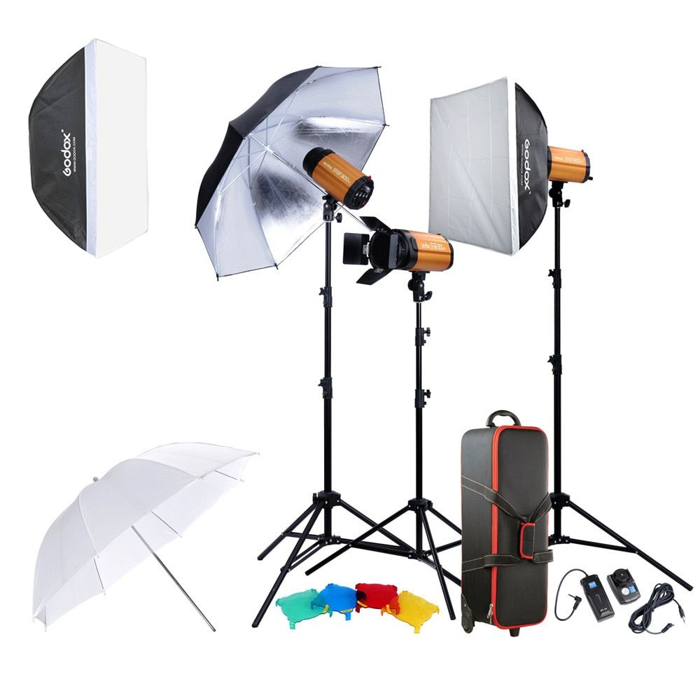 Godox 300SDI Professional Photography Lighting Lamp Kit Set with Light Stand Softbox Barn Door Trigger 300W Studio Flash Strobe