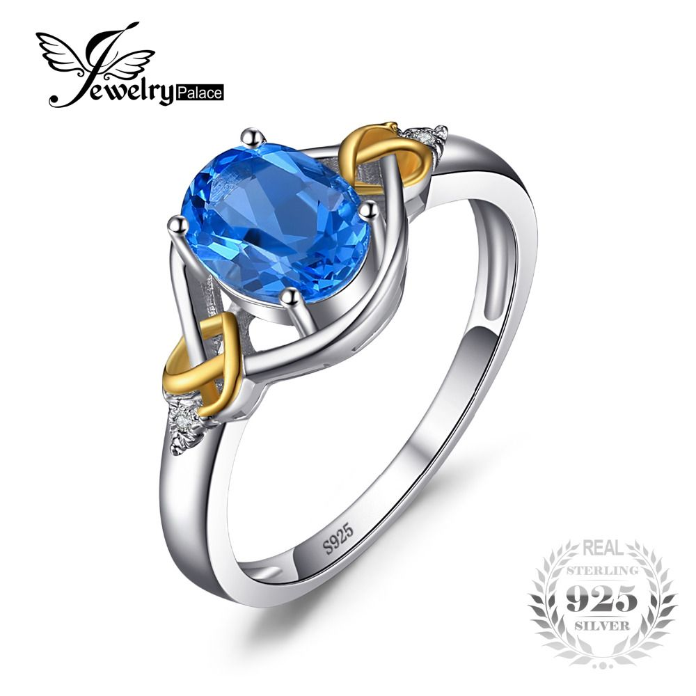 JewelryPalace Love Heart Knot 1.5ct Natural Blue Topaz Real Diamond Accented 925 Sterling Silver 18K Yellow Gold Ring For Women