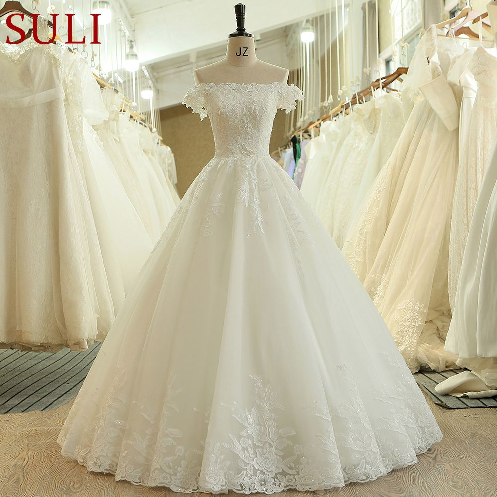 SL-536 Fashion Cheap Boat Neck Short Sleeve Beads Lace Applique Wedding Dress 2018