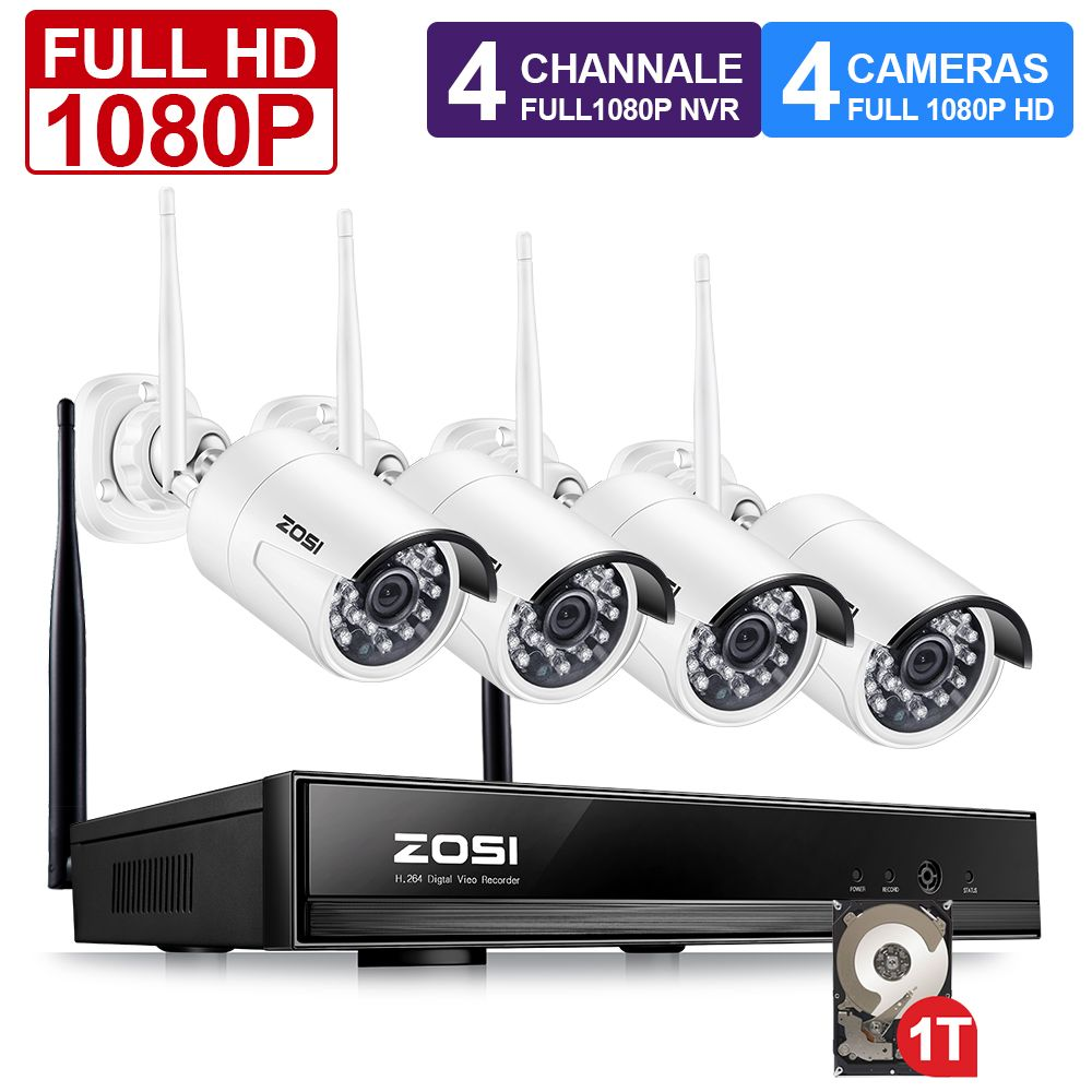 ZOSI 1080 p Drahtlose CCTV System 2MP 4CH Leistungsstarke NVR IP IR-CUT Kugel CCTV Kamera Wi-Fi IP Sicherheit System Überwachung kits