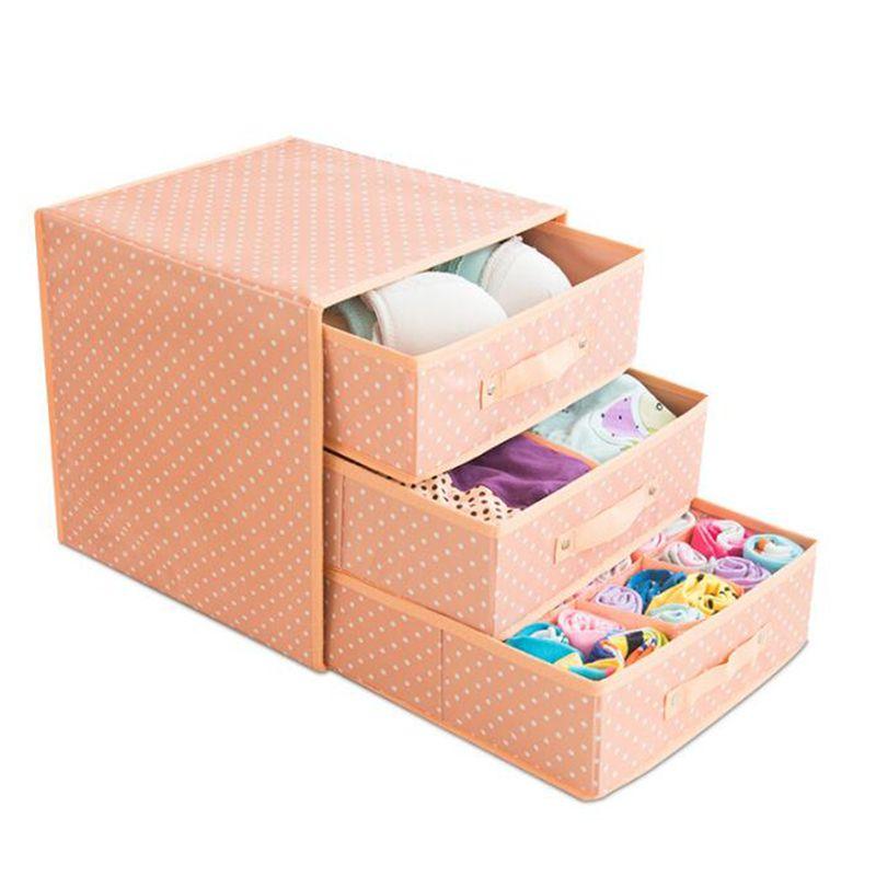 Three-layer three-drawer underwear Bra Storage box Multicolor Drawer Underwear Box Scarf Socks Bra home storage organizer