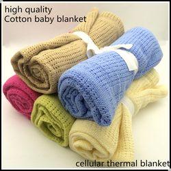 Bebé recién nacido mantas Super algodón suave Crochet verano 100 cm X 80 cm caramelo Color Prop cuna Casual dormir suministros Hole Wrap