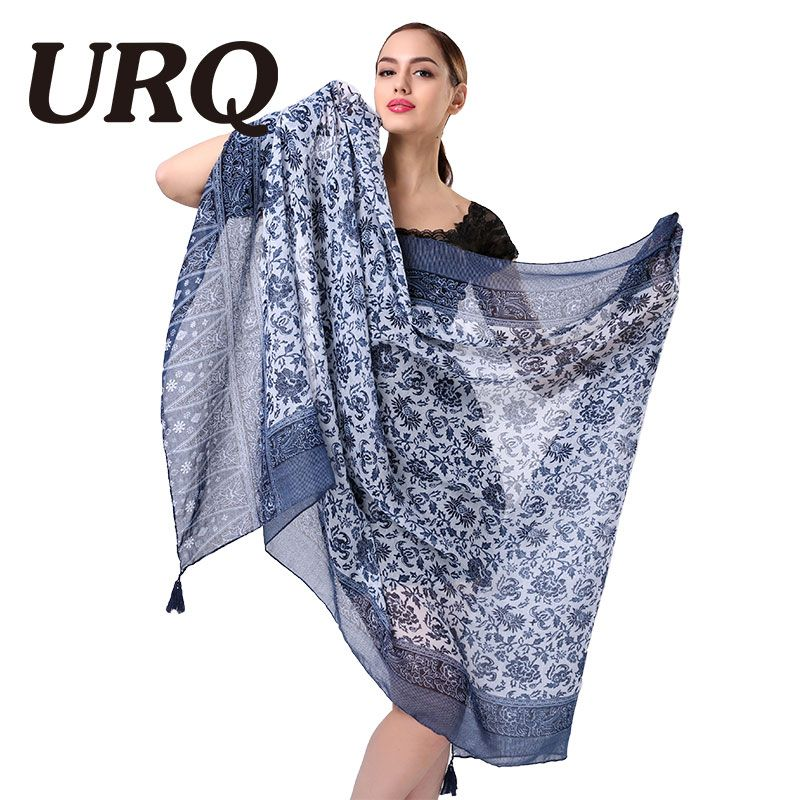 Mode femme écharpes avec glands Floral imprimé écharpe pour femmes fille 100 cm * 180 cm grande taille été châles doux V9A18544
