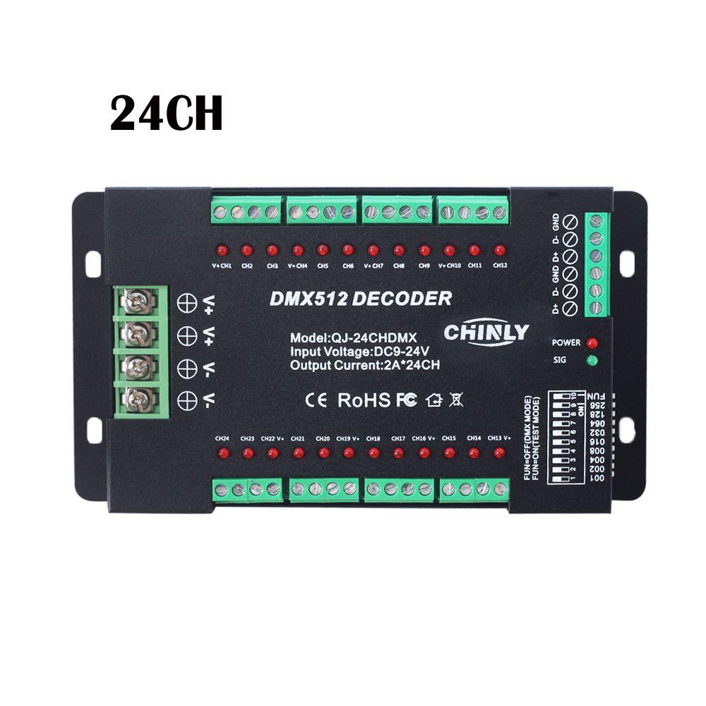 DMX512 Decoder 24 Channels RGB LED Strip Lights Driver Dimmer Standard DMX512 Signal DC9V-24V DMX Controller 24CH