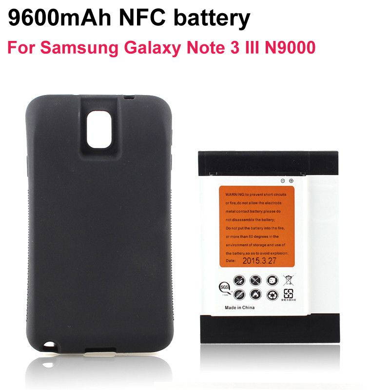 For Samsung Note3 Smartphone NFC Batteria 9600mAh Extended Battery + Black Case Cover For Samsung Galaxy Note 3 III N9000