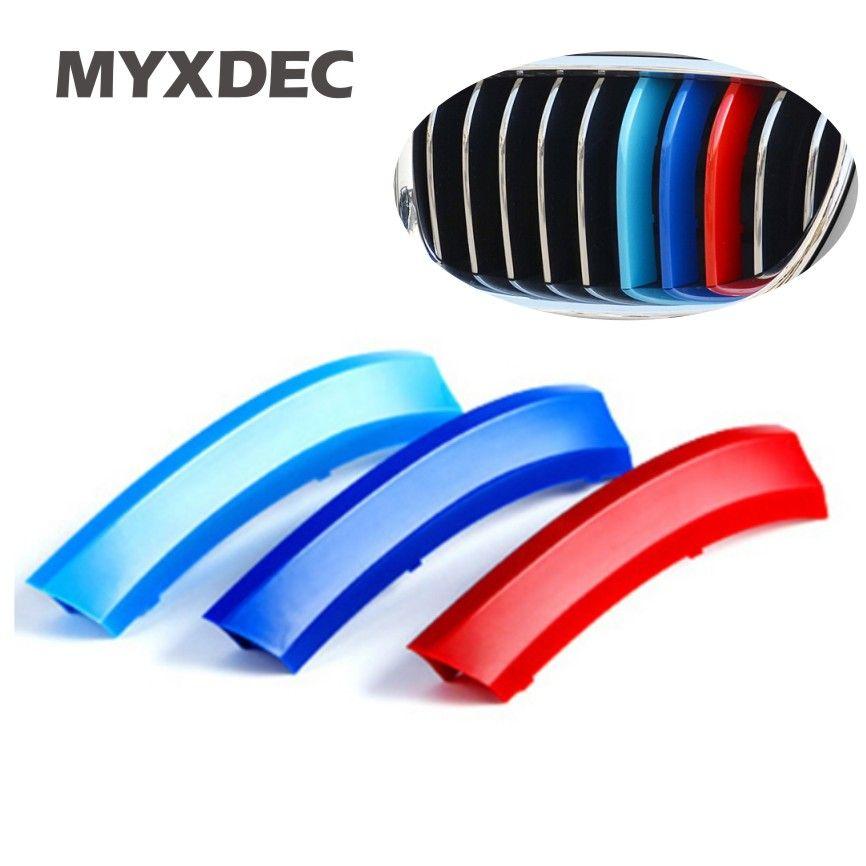 3 couleurs ABS 3D moulage M style avant Grille bandes de garniture couverture sport automobile autocollants pour BMW 3 4 5X5X6 F10 F18 F30 F35