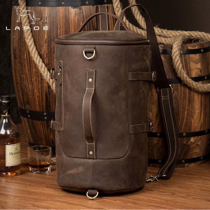 LAPOE genuine leather backpack men Large Capacity Mens Leather Backpack For Travel Casual Men Daypacks Travle Backpack mochila