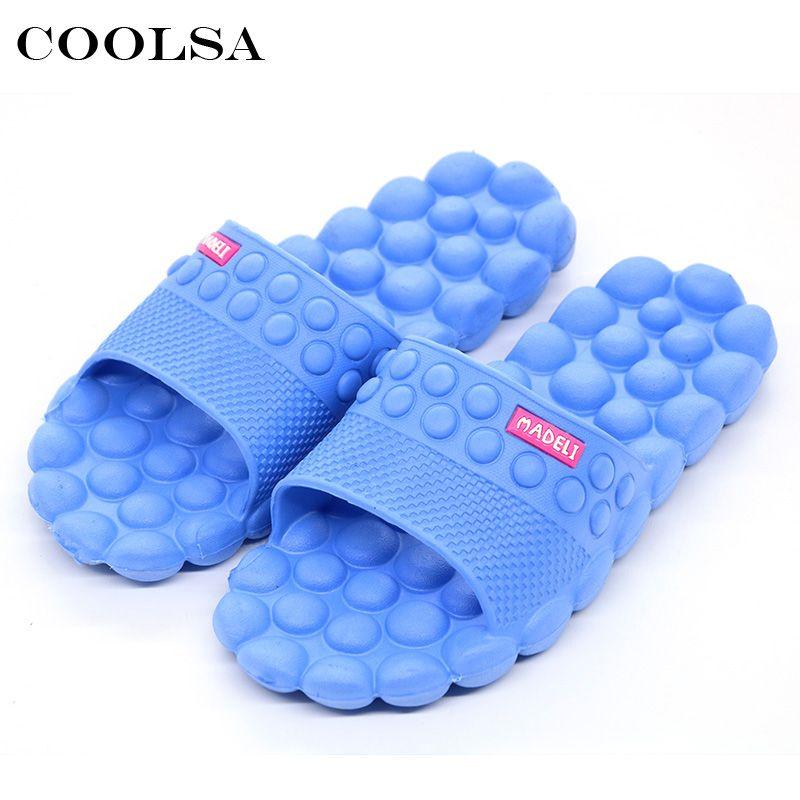 Coolsa nouveau été femmes plage sandales intérieur pierre Massage pantoufles plat antidérapant glisse maison pantoufles filles salle de bains tongs