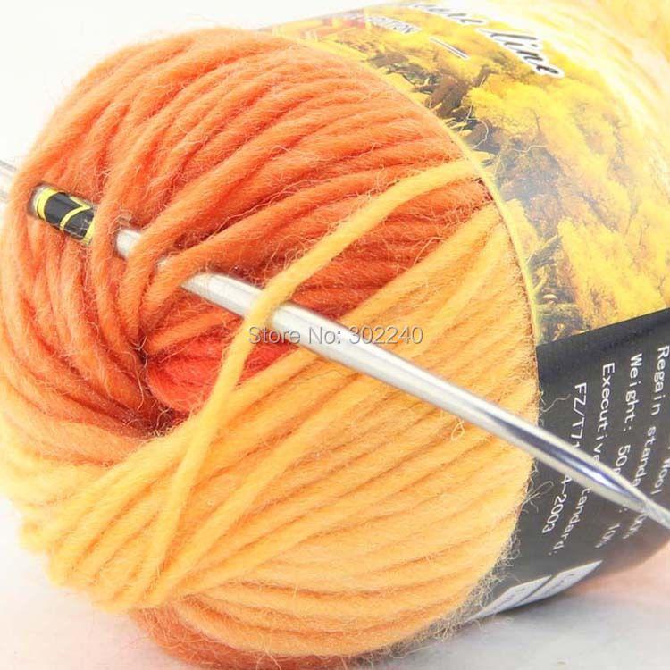 Lot of 1 skeins x 50g Chunky Hand Coarse Knitting Scores wool yarn Yellow Orange 811