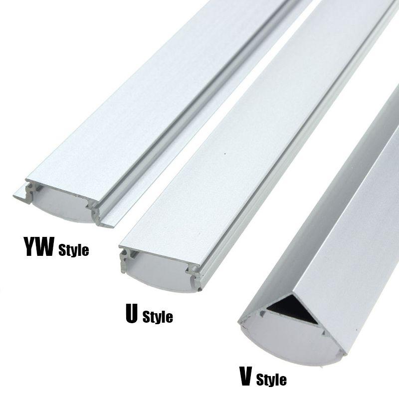 30/50cm U/V/YW-Style Shaped LED Bar Lights Aluminum Channel Holder Milk Cover End Up Lighting Accessories For LED Strip Light