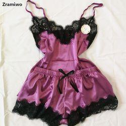 Женская одежда для сна, Сексуальный Атласный пижамный комплект, Черная кружевная Пижама с v-образным вырезом, без рукавов, милый топ на брете...