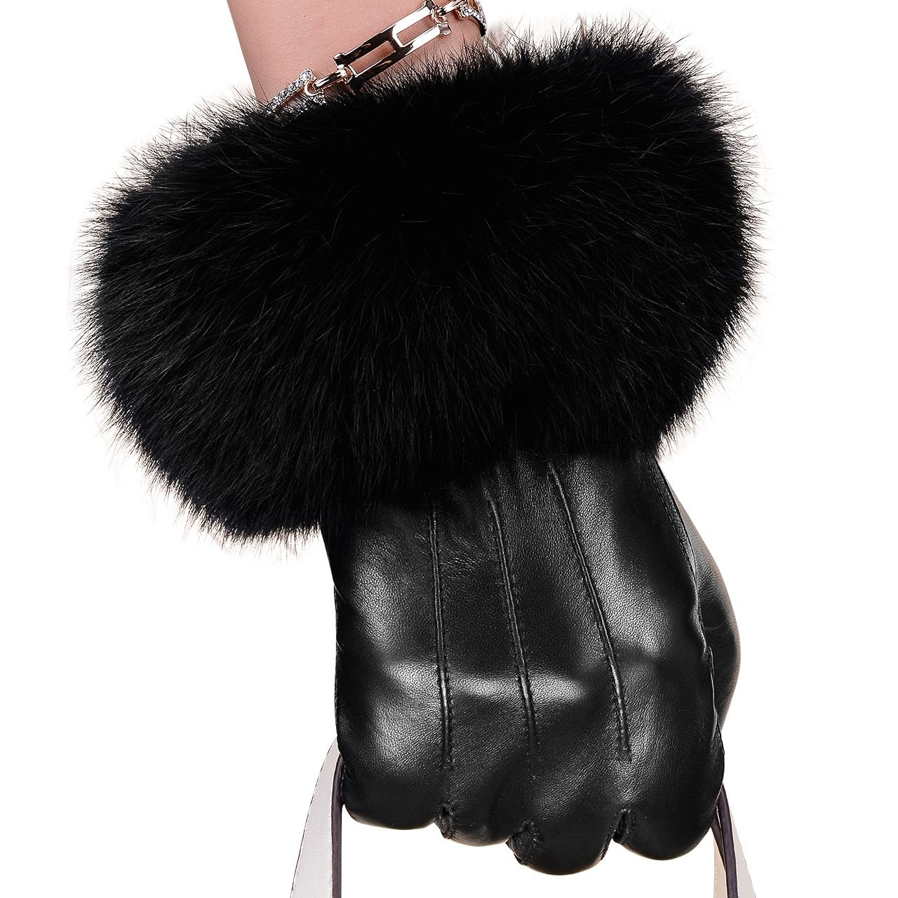 Winter Spring Fashion Winter Sheepskin Gloves Top Lambskin Solid Real Genuine Leather Women Wrist Driving Glove