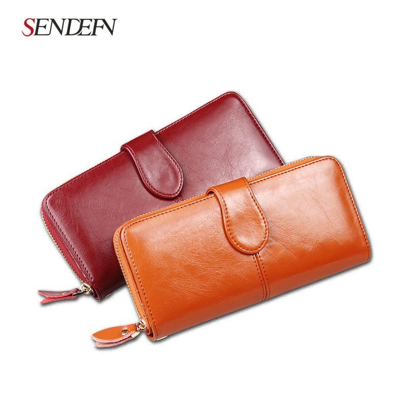 Лидер продаж! Для женщин Разделение кожаный бумажник на молнии карман для мобильного телефона коровьей HASP портмоне известная марка женский...