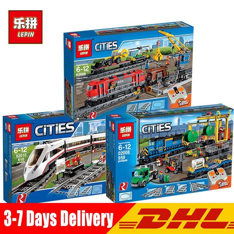 In Stock DHL Lepin 02010 02008 02009 City Series The Legoinglys 60051 60052 60098 Remote Control Train Building Blocks Brick Toy