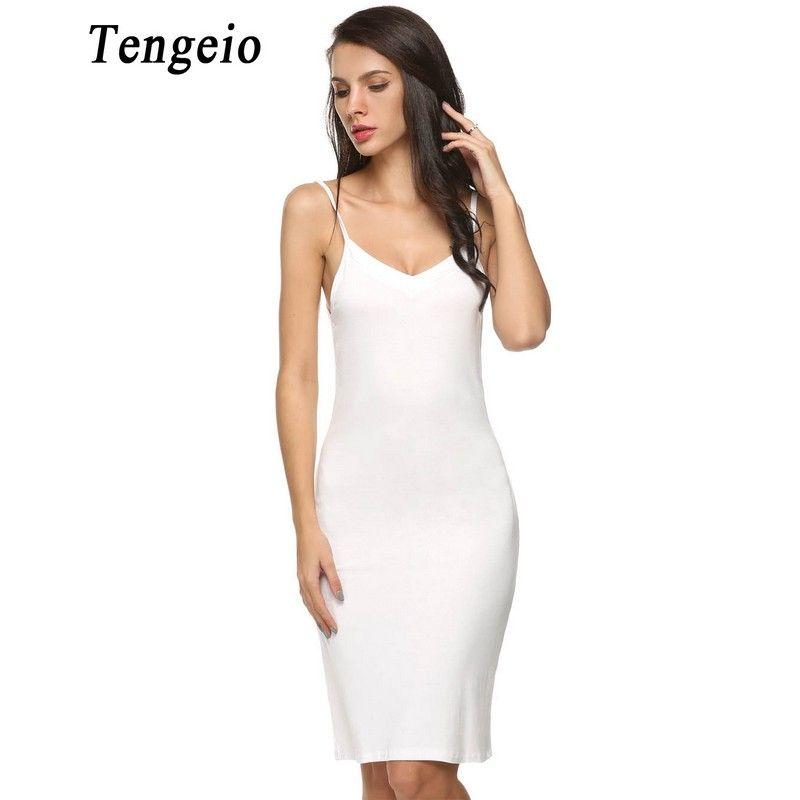 Tengeio 2018 Women Sexy Strap Full Slips dress Long Underdress Sleeveless Plus Size Bodycon Bottoming Straight Petticoat <font><b>Femme</b></font>