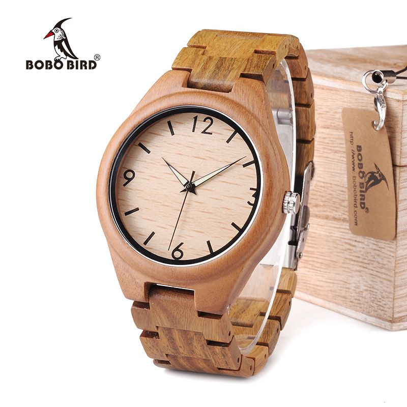 BOBO BIRD WI18 Mens Green Sandalwood Watch Luminous Pointer 20.4cm Length Wood Band Classic Verawood Watches Accept OEM