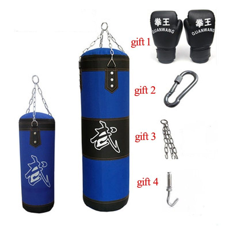 60/80/100/120cm Blue Giant Sandbag Thickened Canvas Punching Bag Sports Training Hook Hanging Kick Empty Boxing Bags with Gloves
