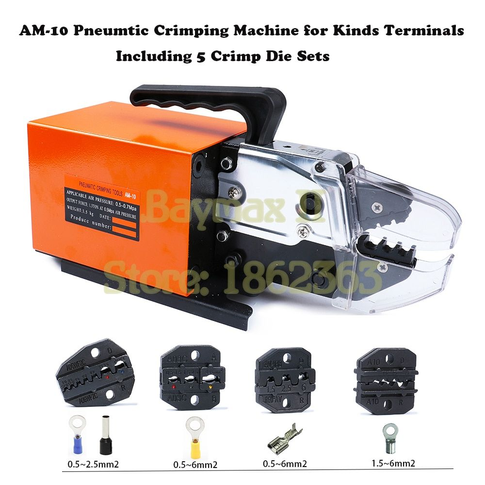 AM-10 Pneumatic Crimping Tool Crimp Machine for Kinds Terminals with 4 Die Sets Option