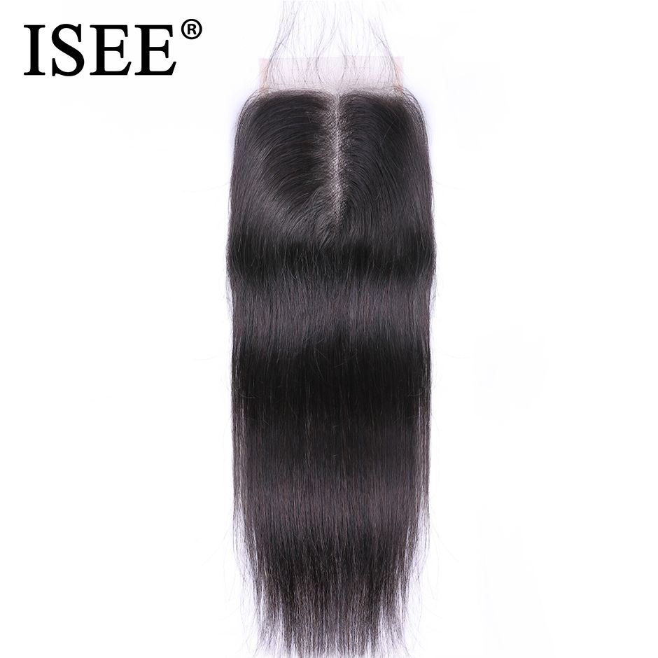 ISEE HAIR Malaysian Straight Hair Closure Hand Tied Free Part Lace Closure Remy <font><b>Human</b></font> Hair Extension Free Shipping Can Be Dyed