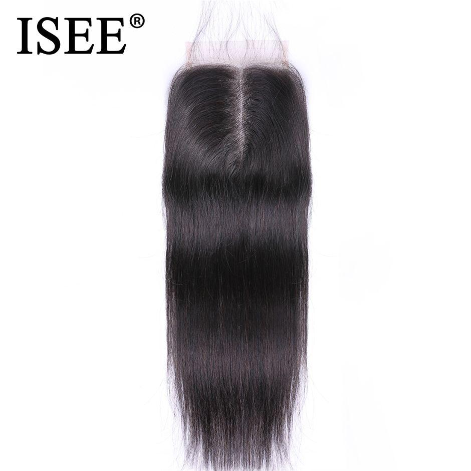 ISEE cheveux malaisiens cheveux raides fermeture partie moyenne dentelle fermeture main liée Remy Extension de cheveux humains livraison gratuite peut être teint