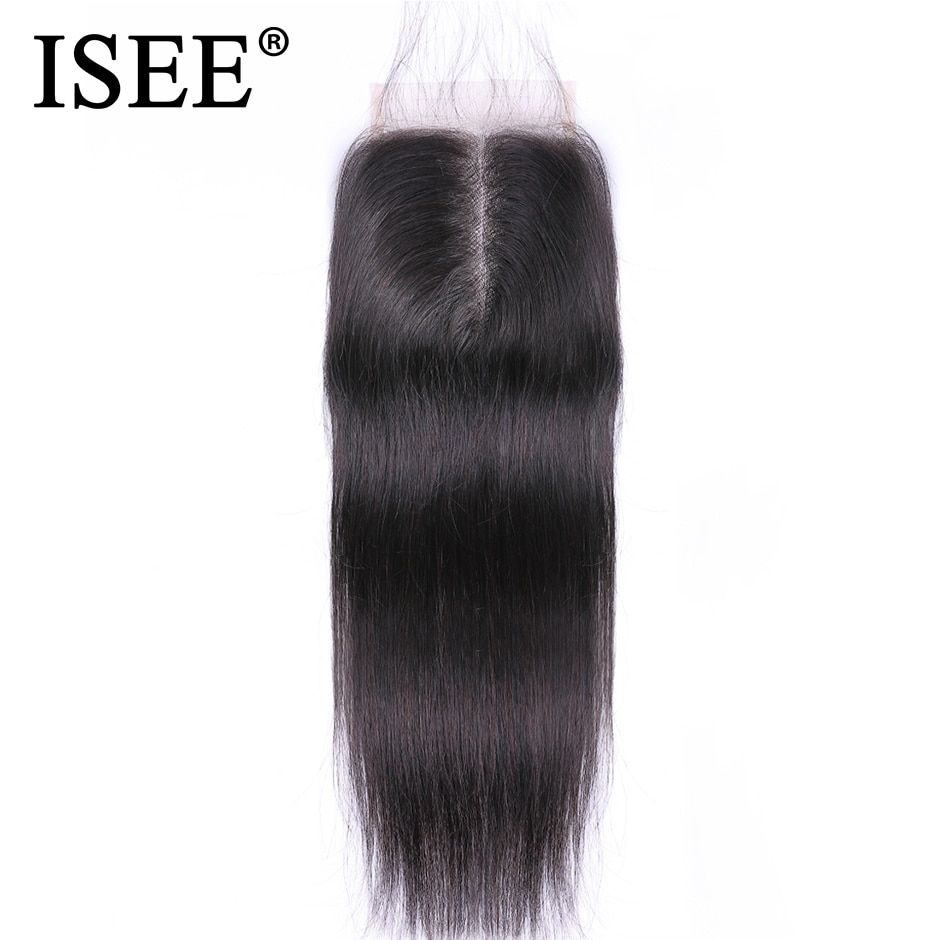 ISEE HAIR Malaysian Straight Hair Closure Hand Tied Free Part Lace Closure Remy Human Hair Extension Free Shipping Can Be Dyed