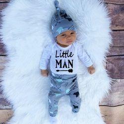 2018 Automne nouveau bébé garçon vêtements ensemble coton à manches longues Barboteuse + pantalon + chapeau 3 pcs. nouveau-né bébé garçon vêtements ensemble SY161
