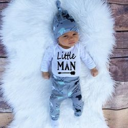 2019 Autumn new baby boy clothes set cotton long-sleeved Romper + trousers + hat  3 pcs. newborn baby boy clothes set SY161