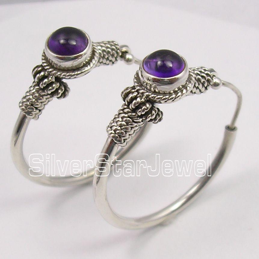 Silver Amethysts TRIBAL INDIA dangle Earrings 3.1CM