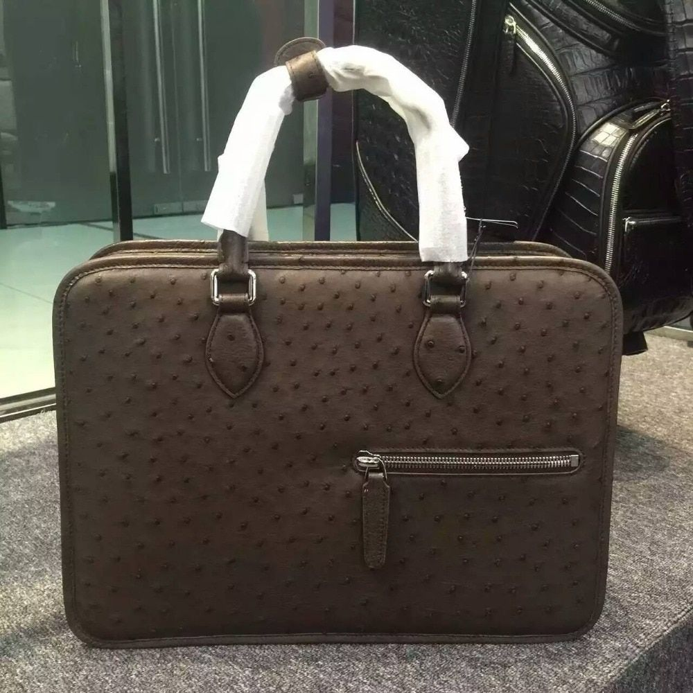 100% Genuine ostrich skin leather briefcase men business laptop bag, ostrich skin men official briefcase handbag brown and black