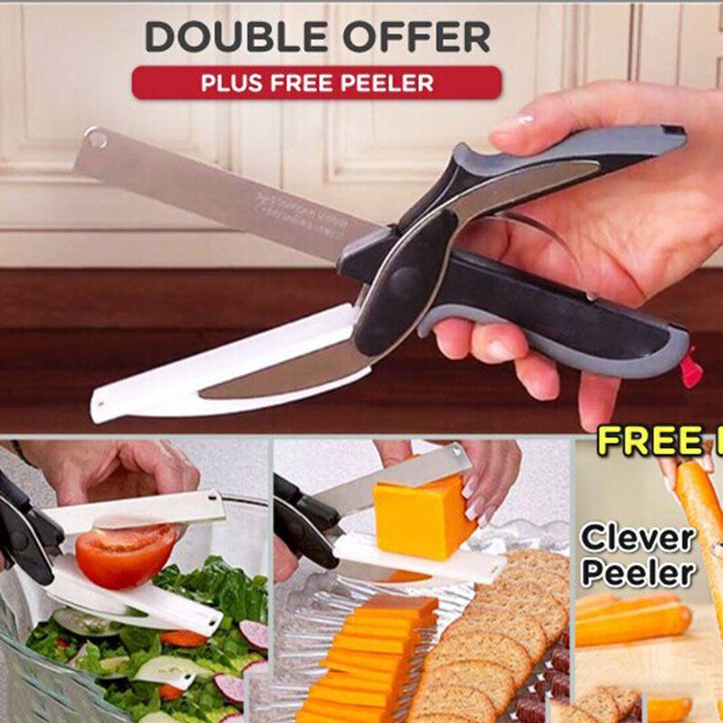 Nouveau multi-fonction Smart Cutter ciseaux 2 en 1 planche à découper utilitaire Cutter en acier inoxydable extérieur couteau à légumes intelligent