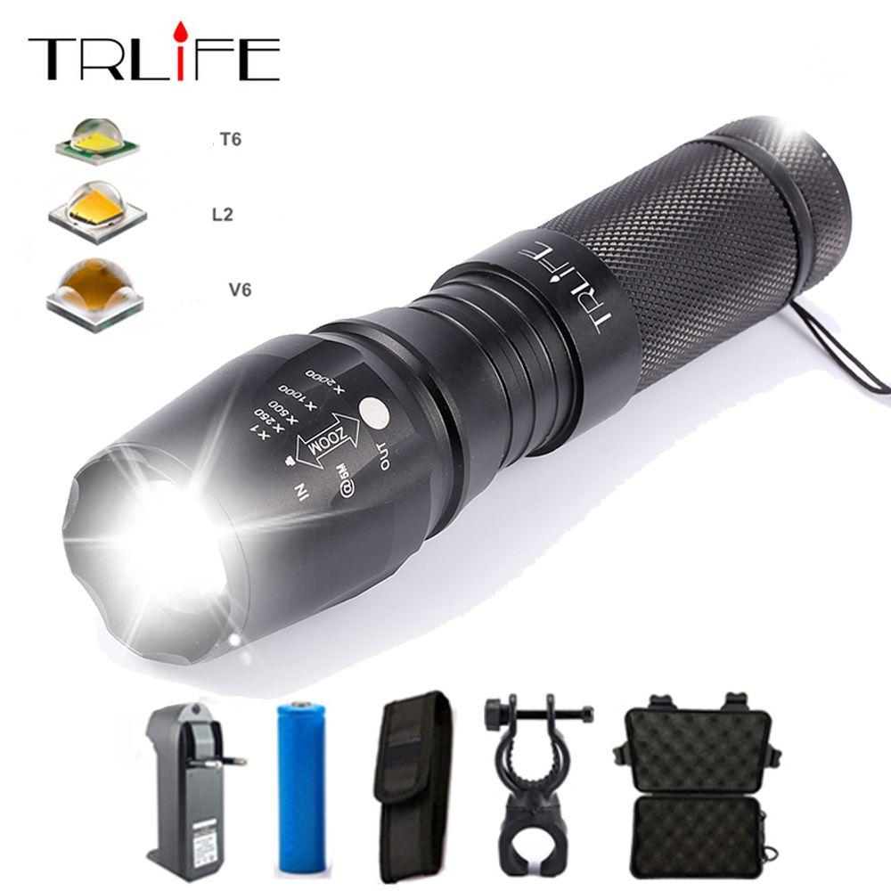 Nouveau V6 10000 Lums Tactique lampe de Poche E97 X800 Lanterne L2 T6 LED Torche Zoomables Lampe De Lumière par 3 3xaaa/ 1x18650 Ou 26650 batterie