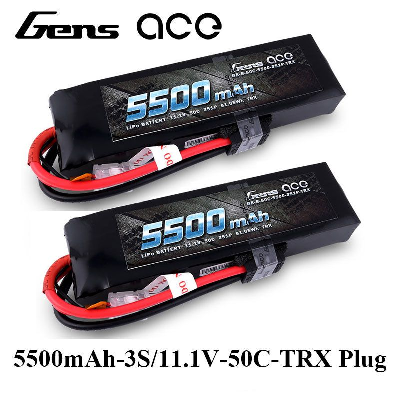 2Pcs Gens ace Lipo Battery 11.1V 50C-100C 5500mAh Lipo 3S Battery Pack TRX Plug 1/8 RC Car for Traxxas ARRMA Axial HPI Edition