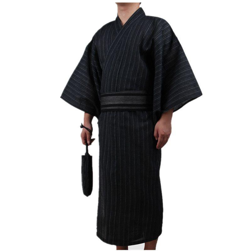 3pc/set Kimono suit Traditional Japanese Male Kimono with Obi Belt Men's Cotton Bath Robe Yukata Men's Kimono Sleepwear 82807