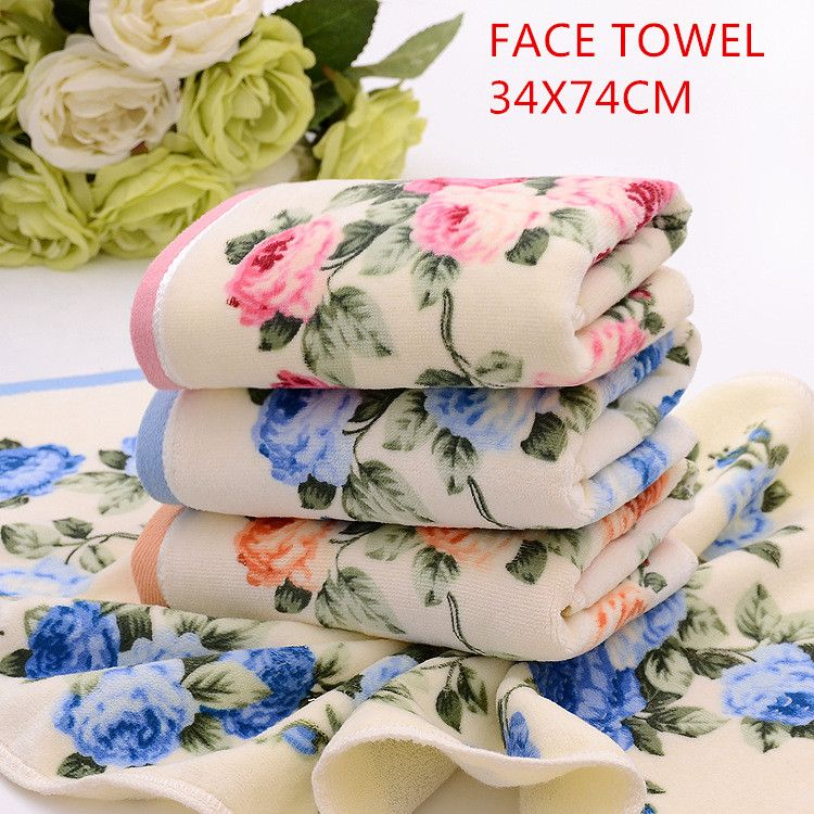 Printed toweHot sale fashional flowers printed design velvet soft feel Home Terry fabric 100%brand to cotton Face towel