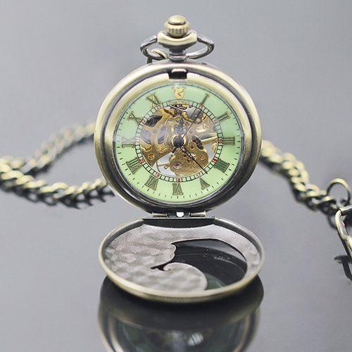 Unisex Vintage Números Romanos Dial Transparente Reloj de Bolsillo Mecánico